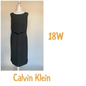 Calvin Klein charcoal gray Dress 18W with belt